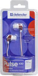Гарнитура Defender Pulse 430 (бело-красная) — фото, картинка — 1
